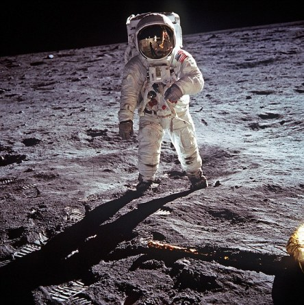 Astronaut Neil Armstrong photographed on moon  as mission commander for the Apollo 11 moon landing on 20 July 1969